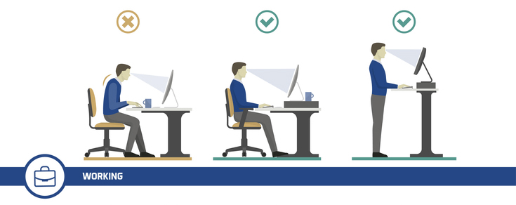 Right and wrong posture while working at a desk